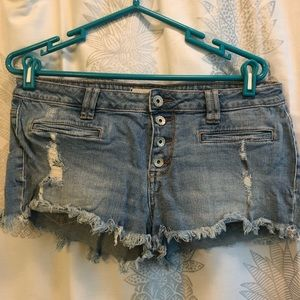 Pac Sun Bullhead Brand Distressed Denim Shorts